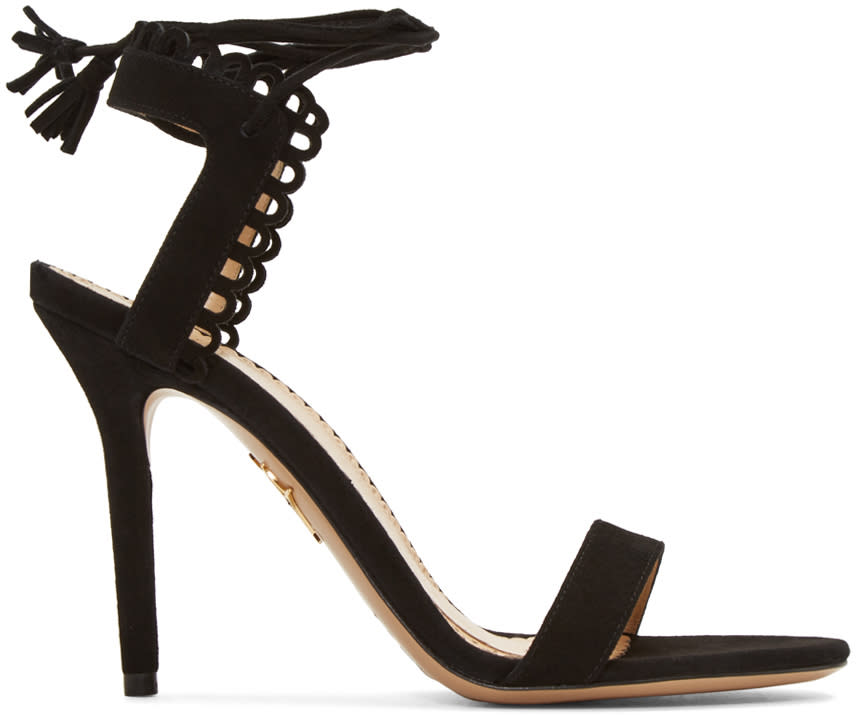 Charlotte Olympia Black Suede Salsa Sandals