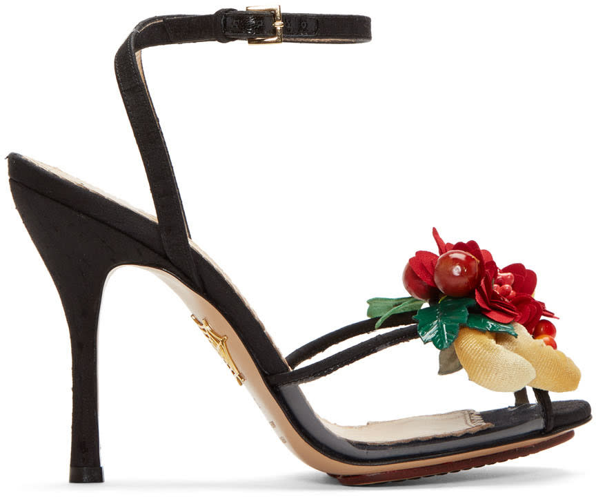 Charlotte Olympia Black Tropical Heeled Sandals
