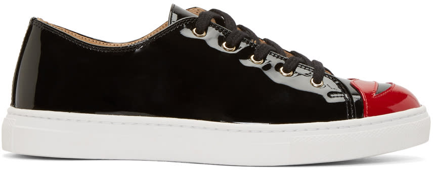 Image of Charlotte Olympia Black Patent Kiss Me Sneakers