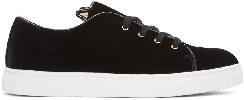Charlotte Olympia Black Velvet Purrrfect Sneakers