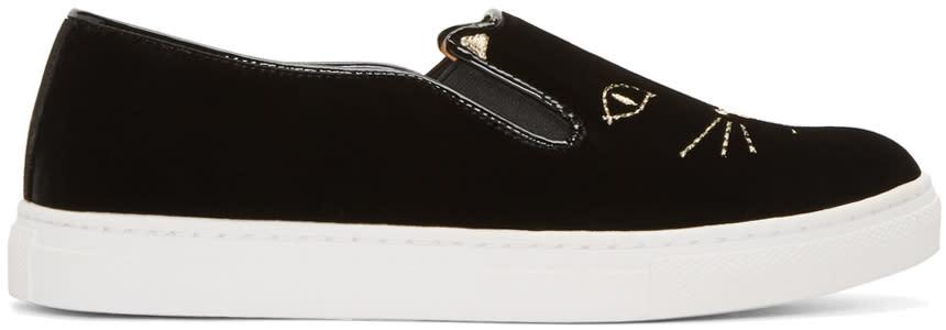 Charlotte Olympia Black Velvet Cool Cats Sneakers