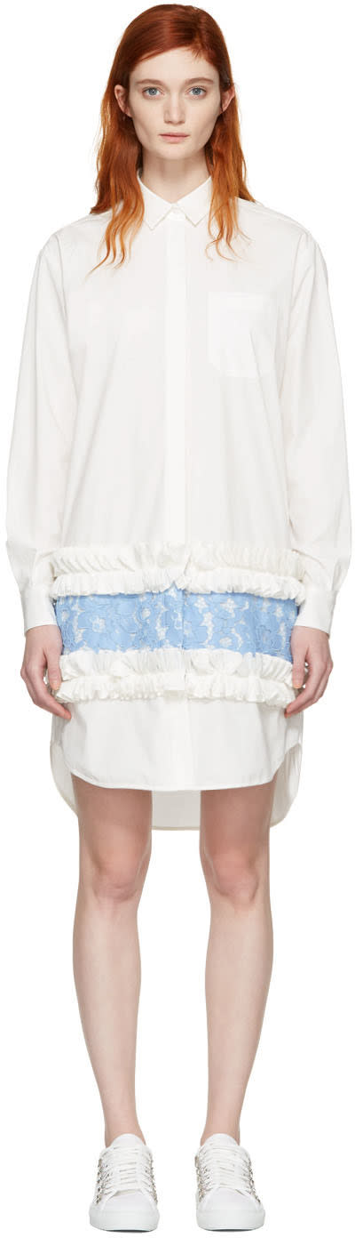 Msgm White Ruffle and Lace Shirt Dress
