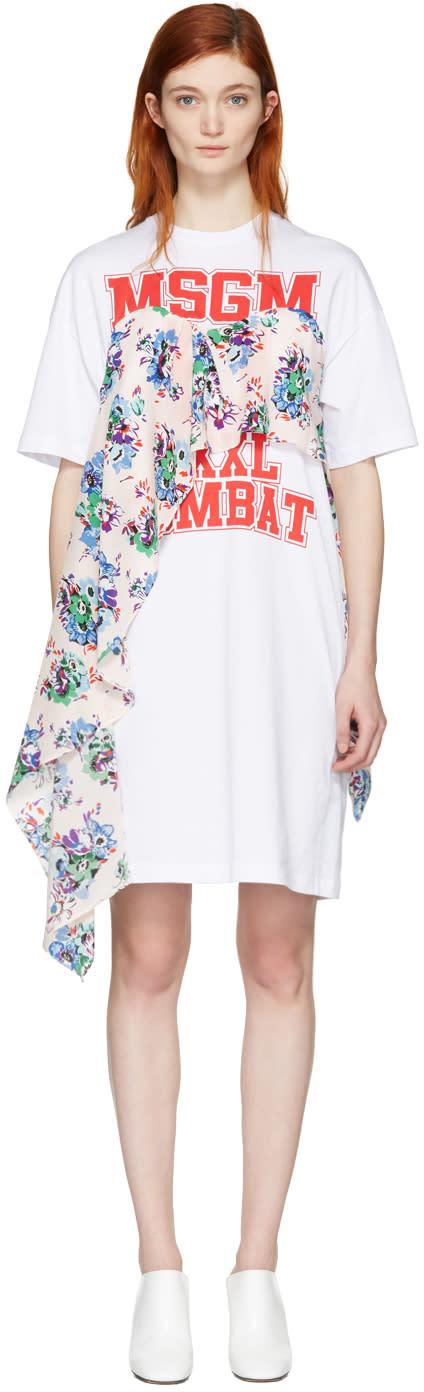 Msgm White Draped Floral Panel Dress