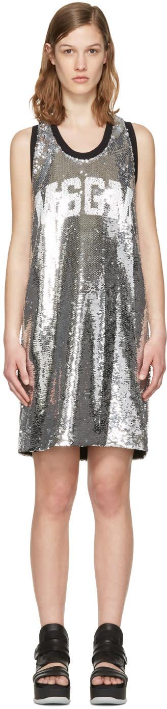 Msgm Silver Sequin Tank Dress