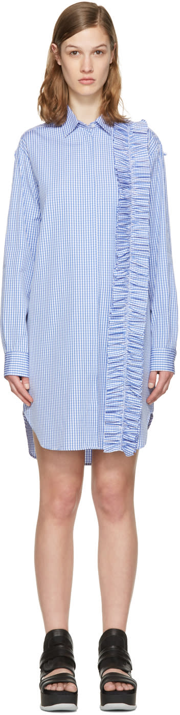 Msgm Blue Ruffle Shirt Dress