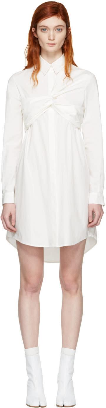 Msgm White Bustier Knot Shirt Dress