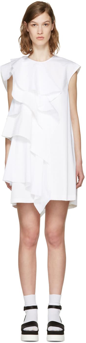 Msgm White Ruffle Poplin Dress