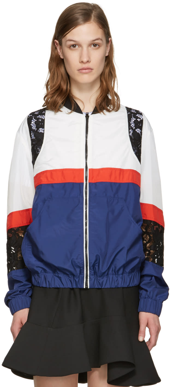 Msgm Blue Nylon Bomber Jacket
