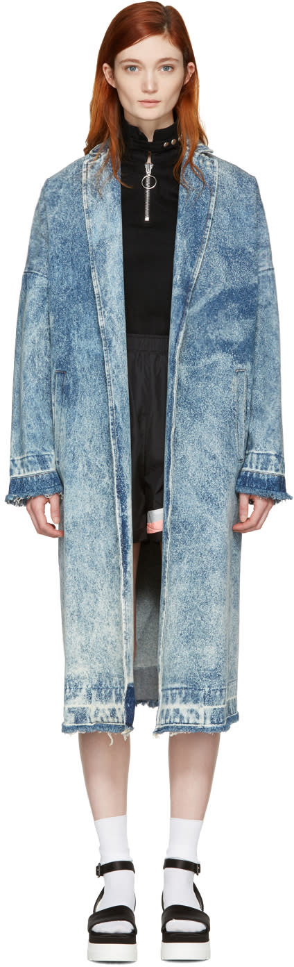 Msgm Blue Marbled Denim Coat