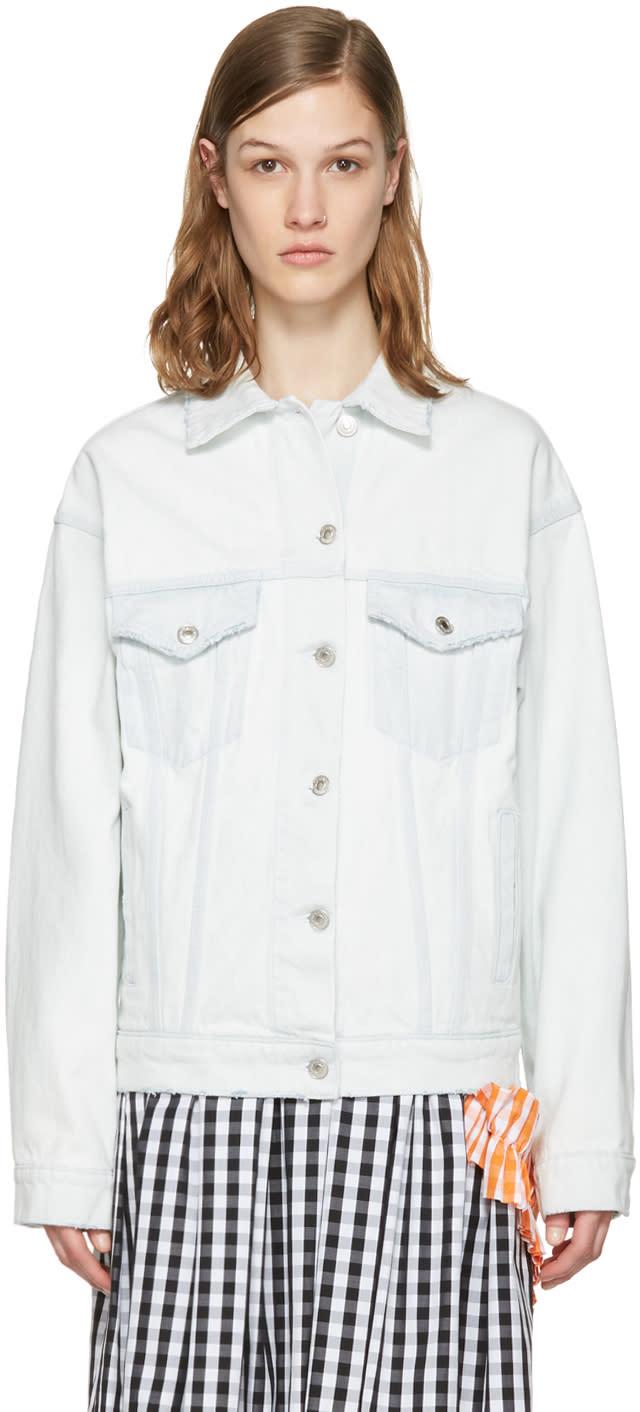 Msgm Blue Denim Logo Jacket