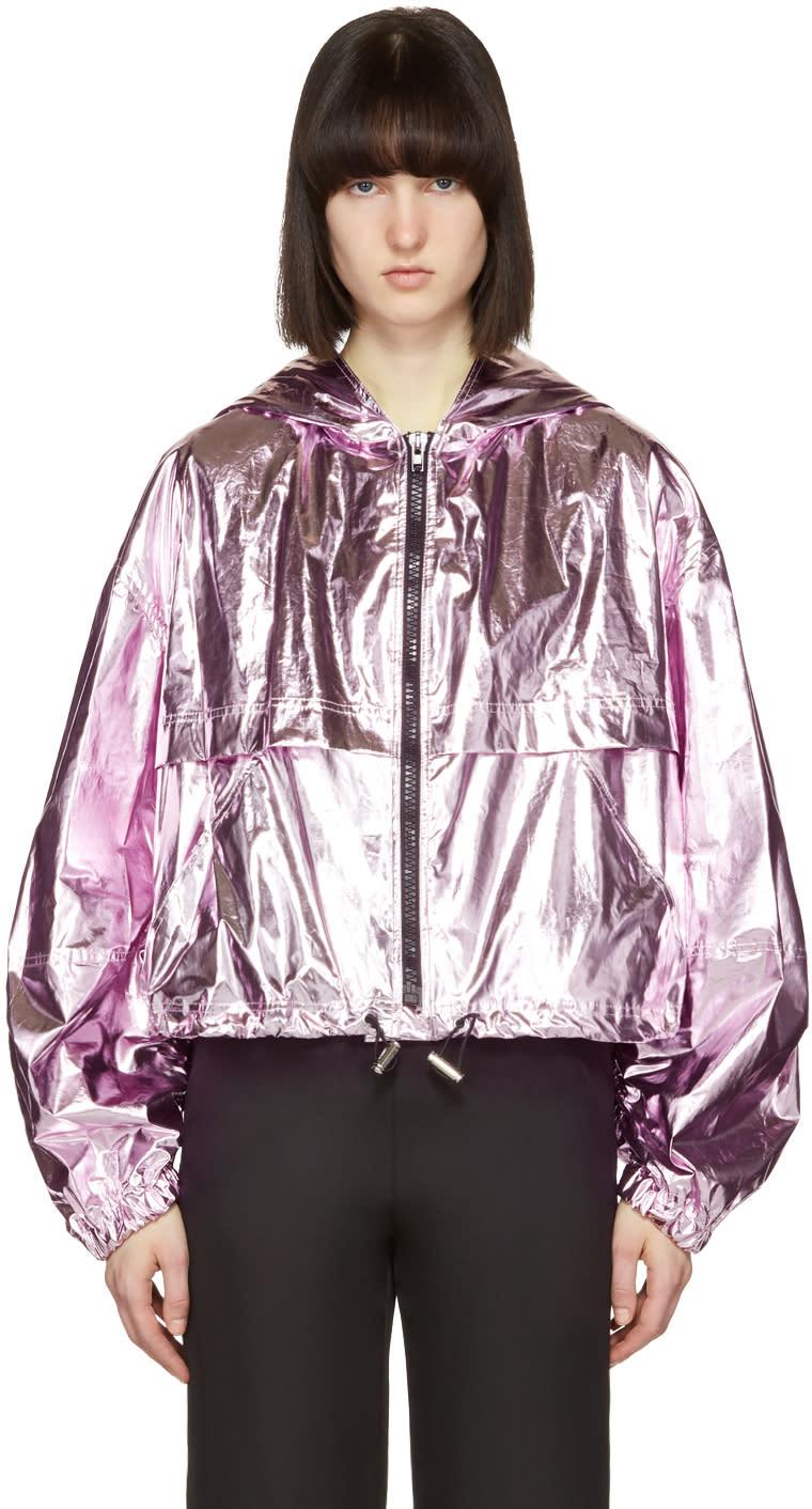 Msgm Pink Metallic Cropped Jacket
