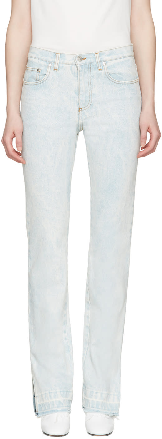 Msgm Blue Marbled Wash Vented Cuffs Jeans