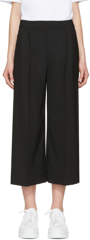 Msgm Black Wide-leg Culottes