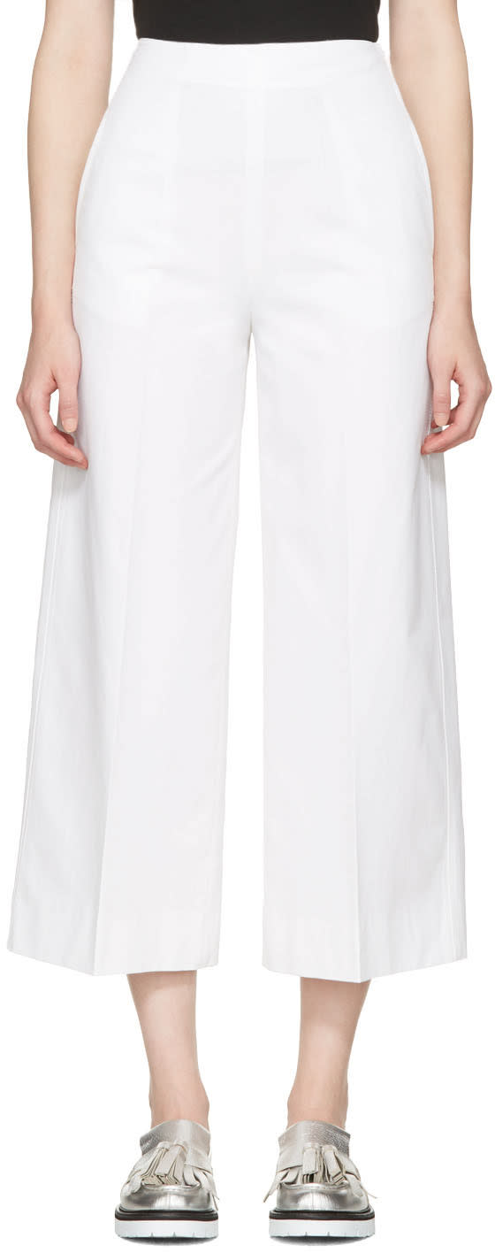 Msgm White Wide-leg Trousers