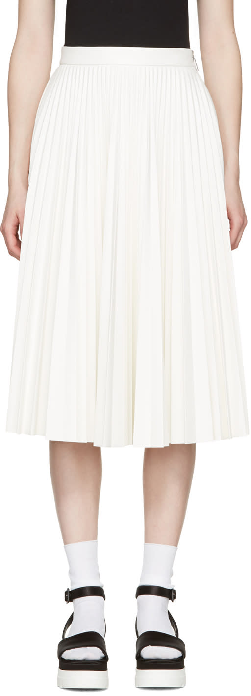 Msgm White Faux-leather Pleated Skirt