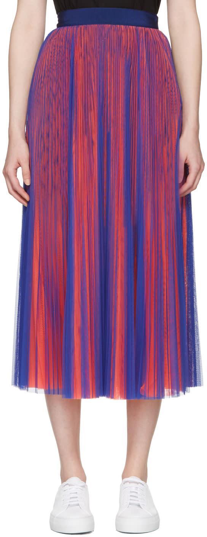 Msgm Blue and Orange Tulle Skirt