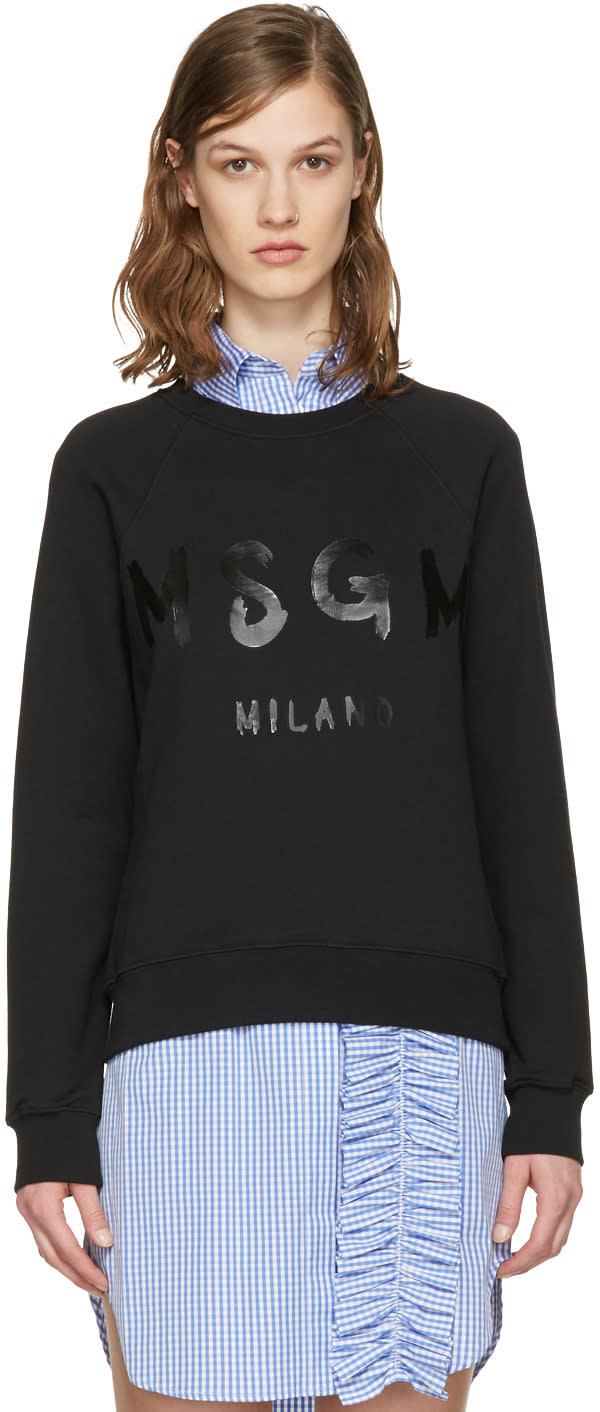 Msgm Black Drawn Logo Pullover