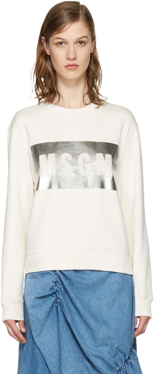 Msgm Ivory Metallic Block Logo Pullover