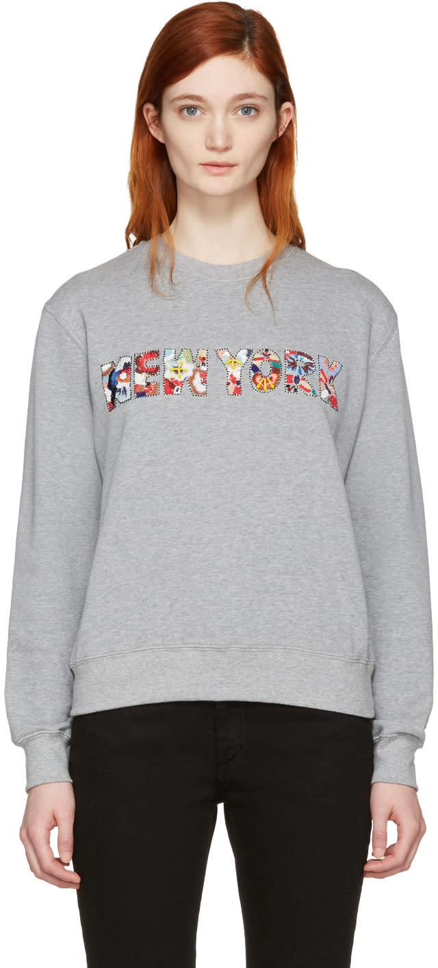 Msgm Grey Embroidered new York Pullover