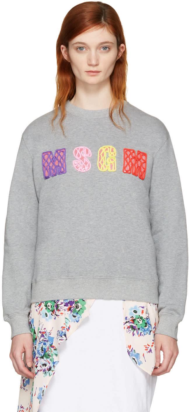 Msgm Grey Embellished Logo Pullover