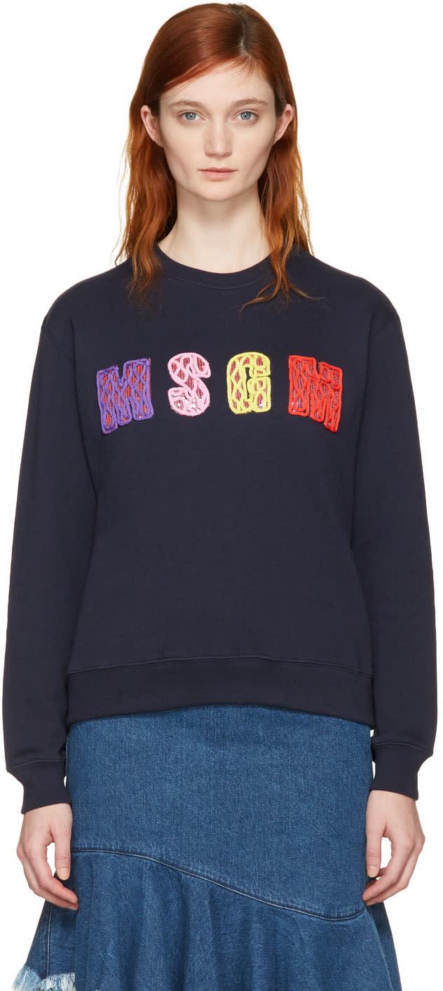Msgm Navy Embellished Logo Pullover