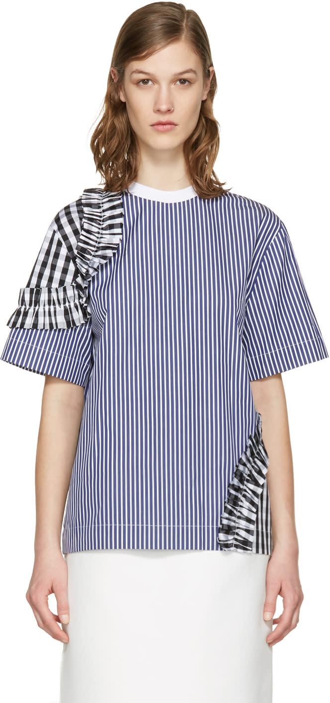 Msgm Navy Contrast Frills Shirt