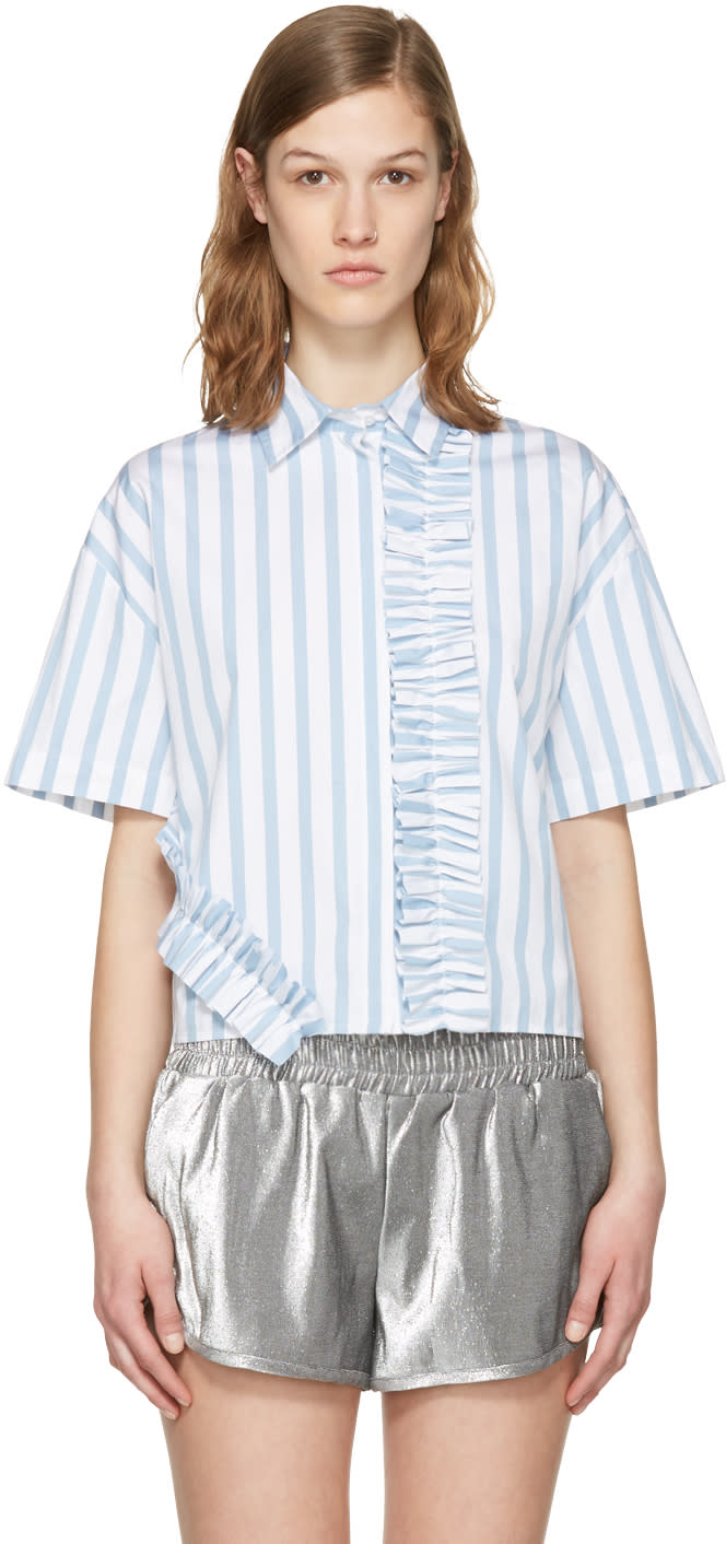 Msgm Blue and White Ruffle Shirt