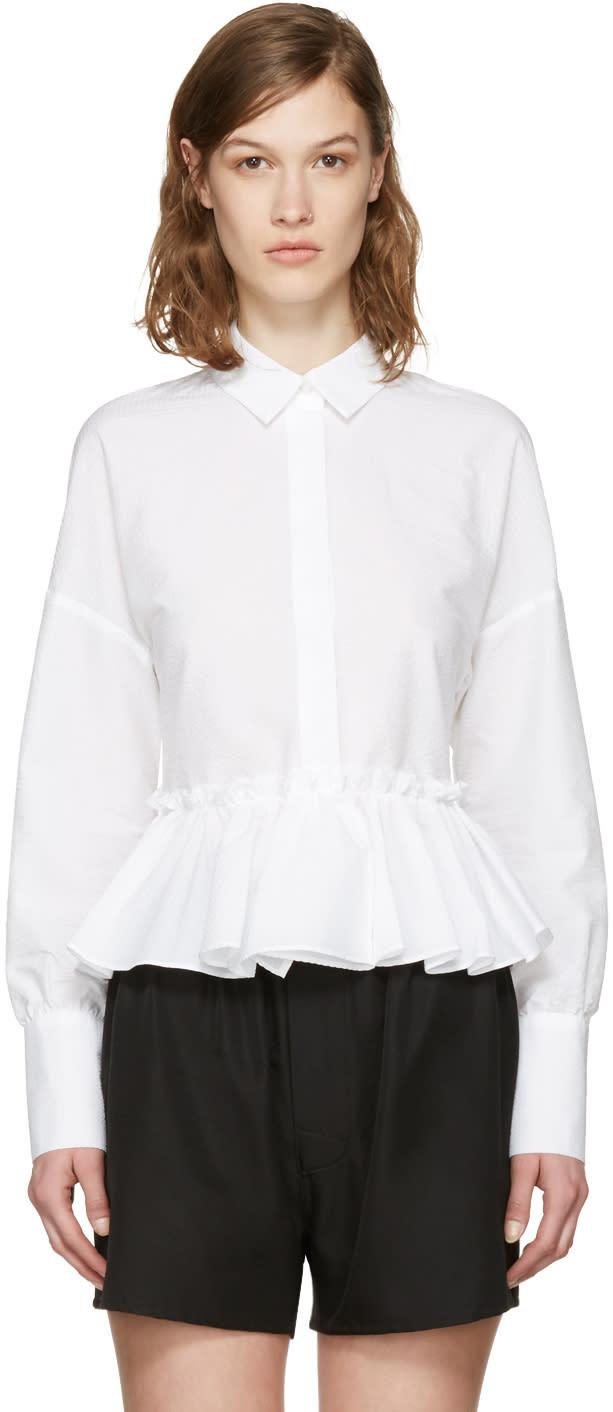 Msgm White Horizontal Ruffle Shirt
