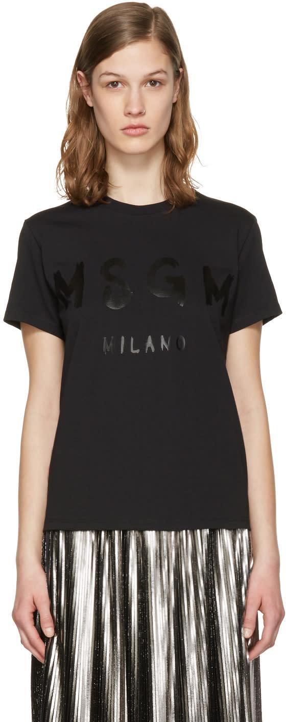 Msgm Black Drawn Logo T-shirt