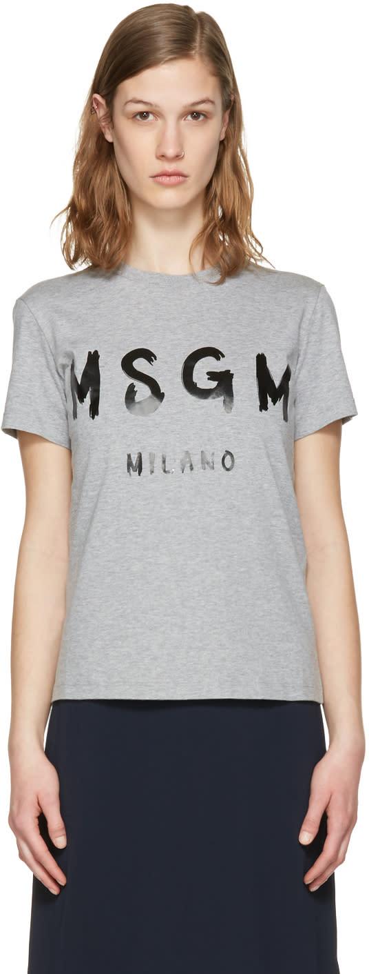 Msgm Grey Drawn Logo T-shirt
