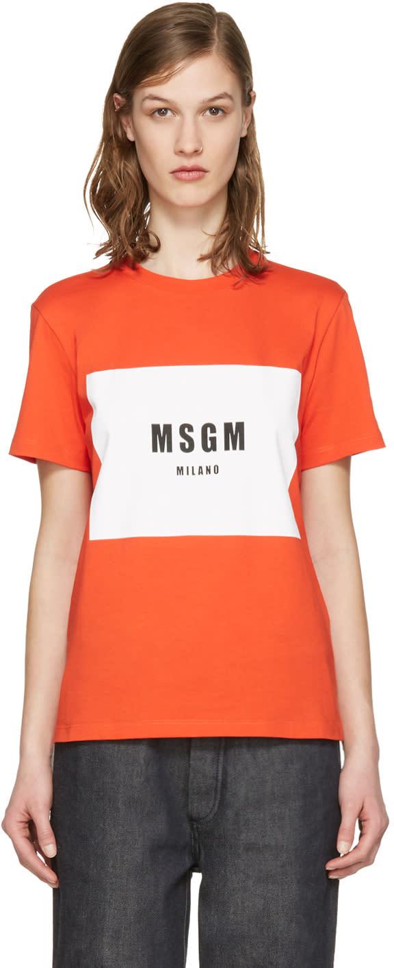 Msgm Red Colorblock Logo T-shirt