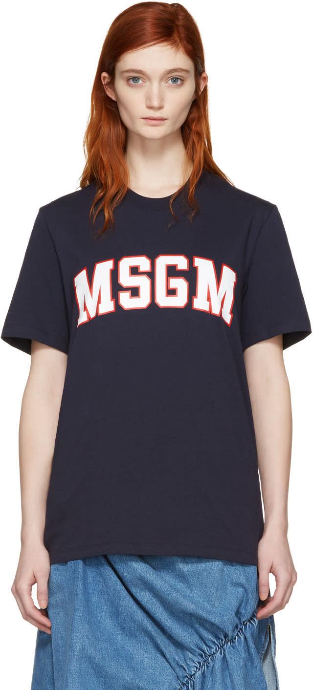 Msgm Navy College Logo T-shirt