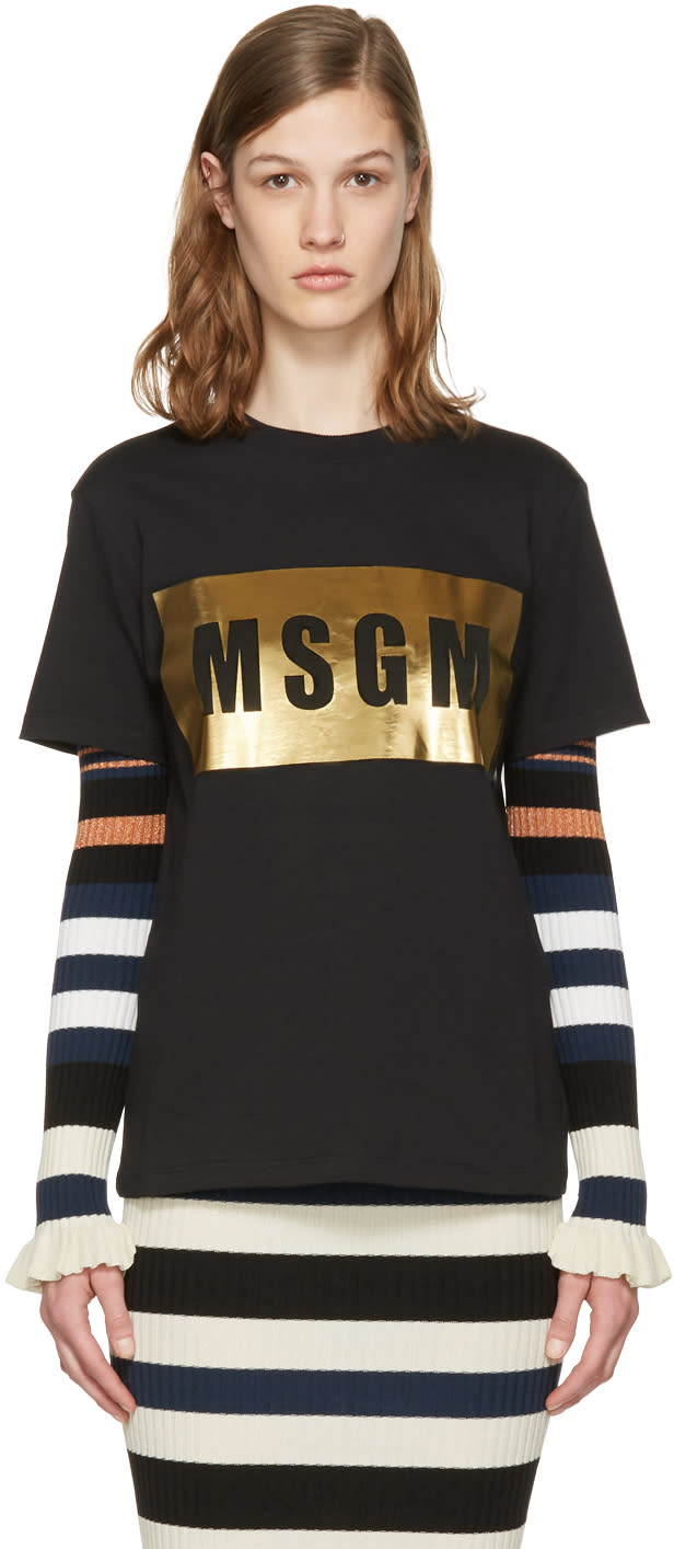 Msgm Black Metallic Logo T-shirt