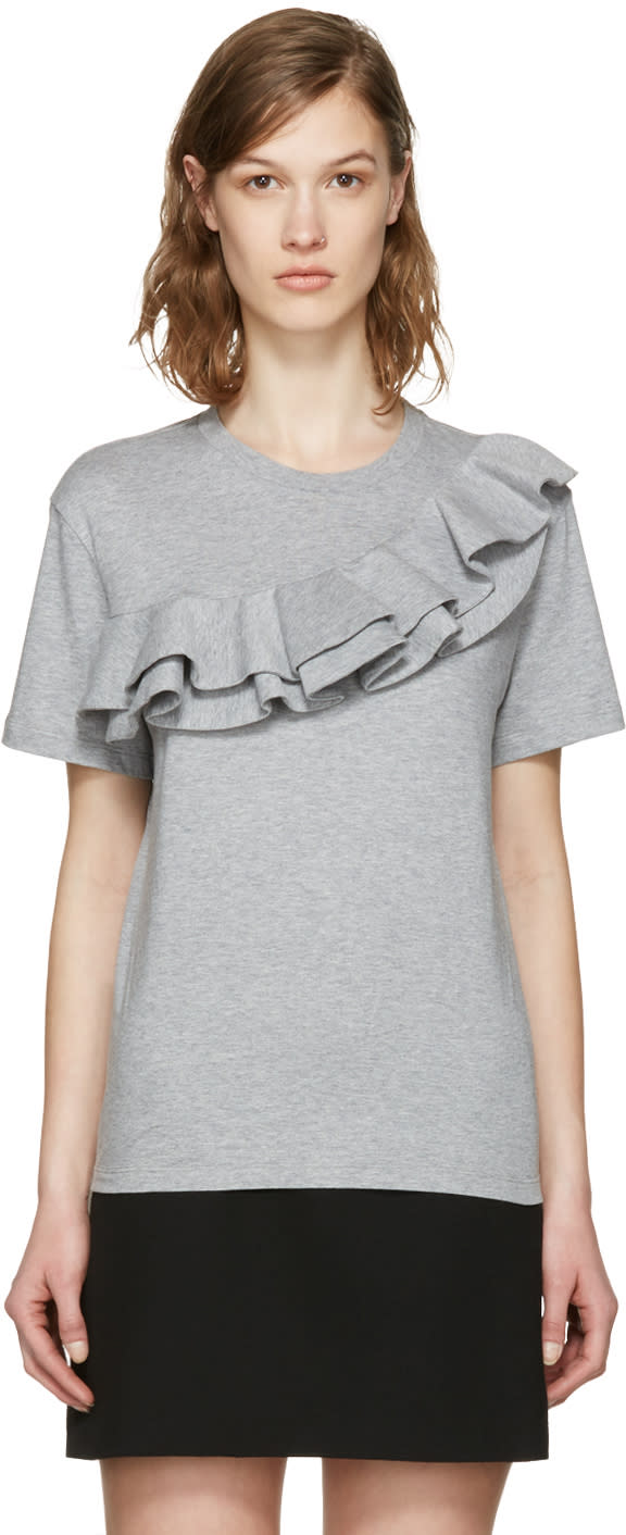 Msgm Grey Asymmetric Ruffle T-shirt