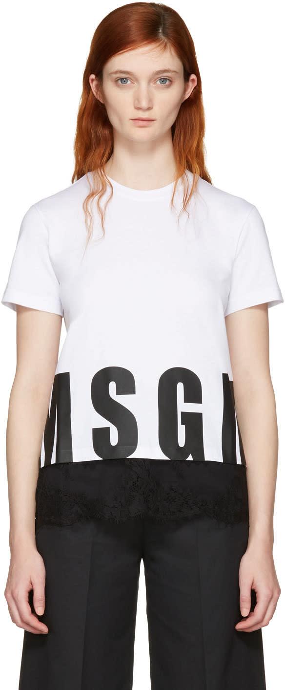 Msgm White Lace Hem Logo T-shirt