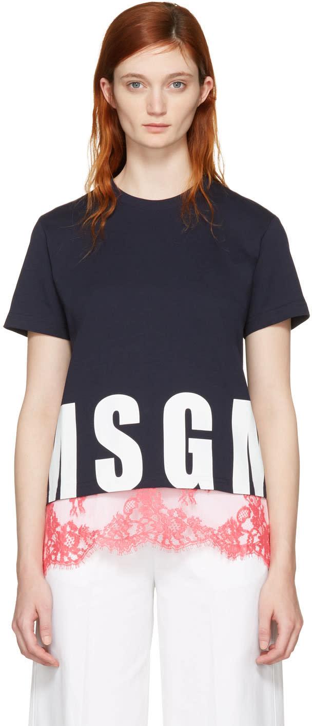 Msgm Navy Lace Hem Logo T-shirt