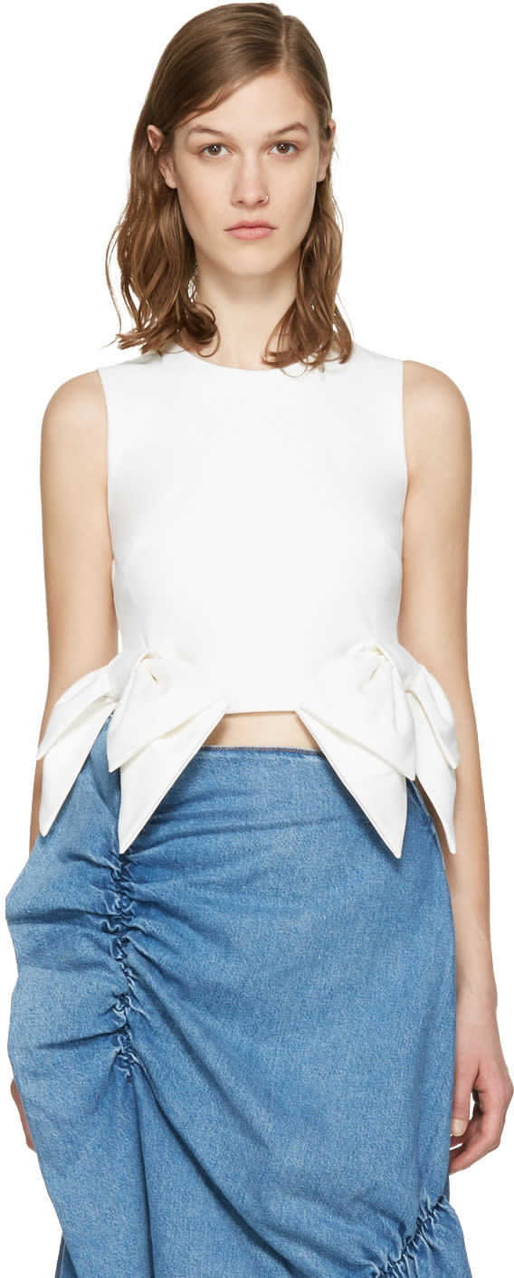 Msgm White Cropped Bow Tank Top