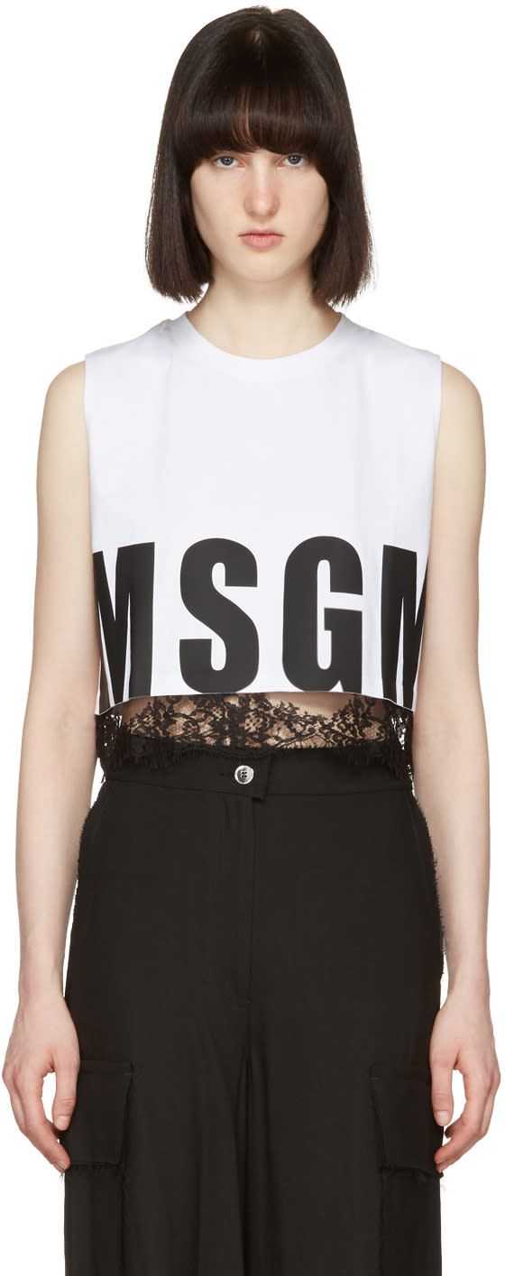 Msgm White Cropped Muscle T-shirt