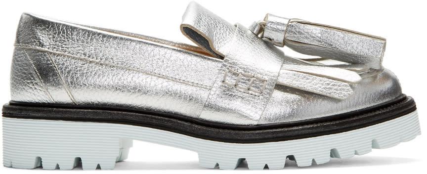 Msgm Silver Fringe Tassel Loafers