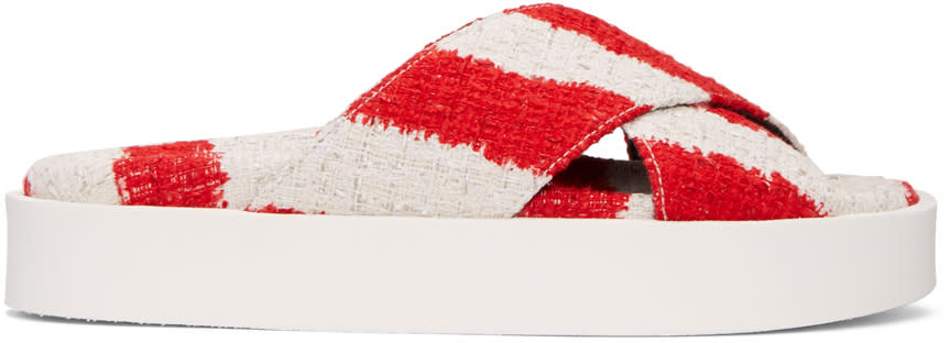 Msgm Red and Off-white Criss-cross Sandals