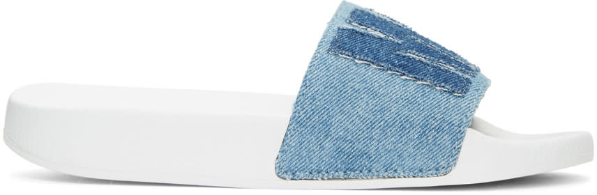 Msgm Blue Denim Logo Patch Slide Sandals