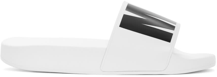 Msgm White Logo Slide Sandals