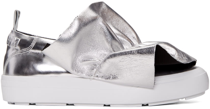 Msgm Silver Ruched Slip-on Sneakers