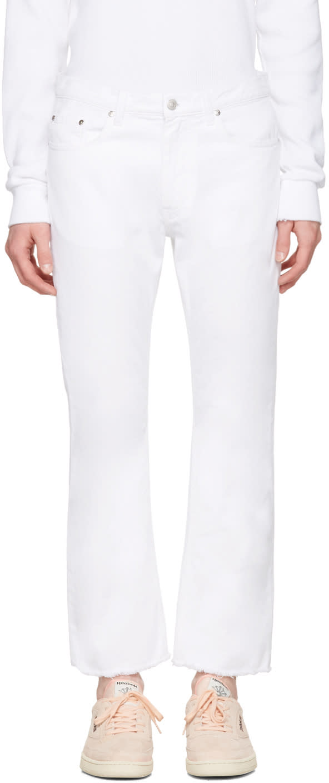 Msgm White Raw Hem Jeans