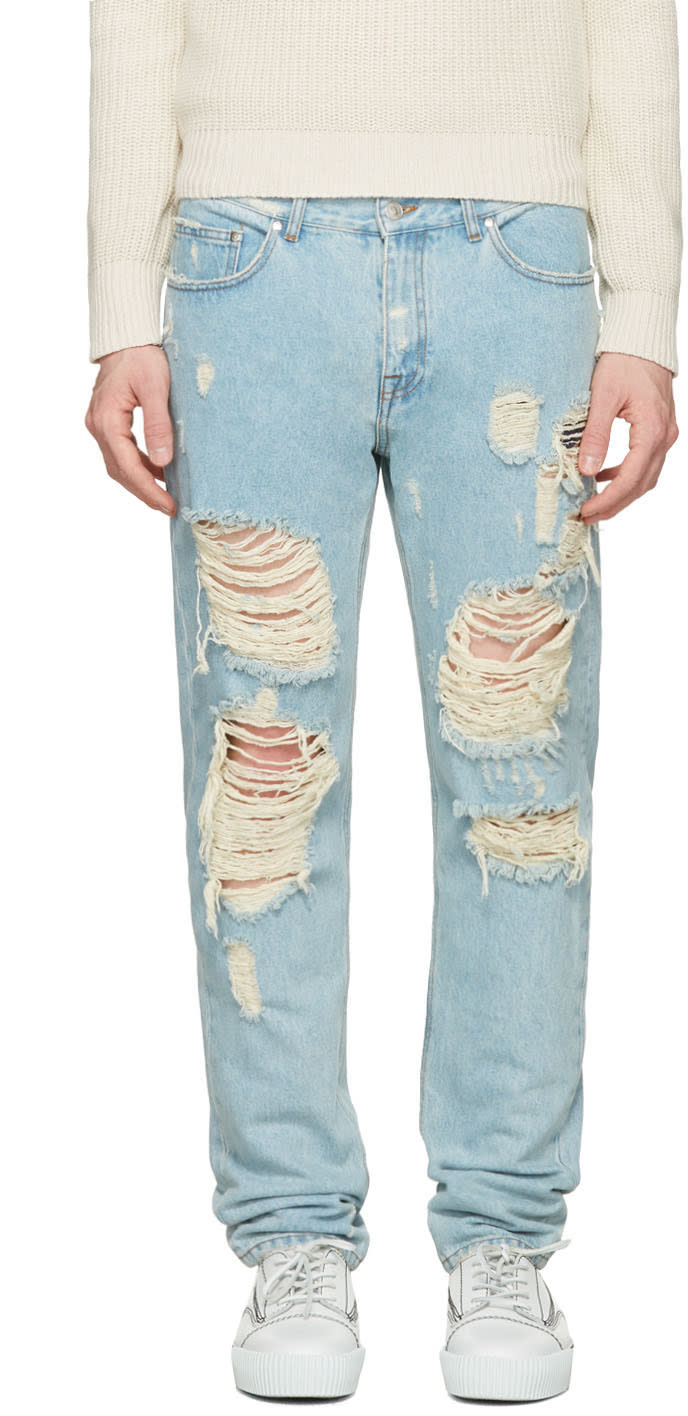 Msgm Blue Destroyed Jeans