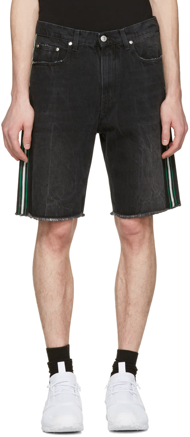 Msgm Black Side Stripes Denim Shorts