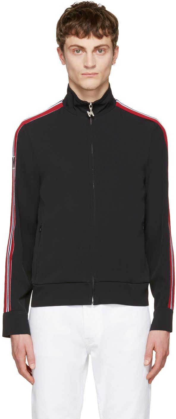 Msgm Black Striped Tape Zip Track Jacket