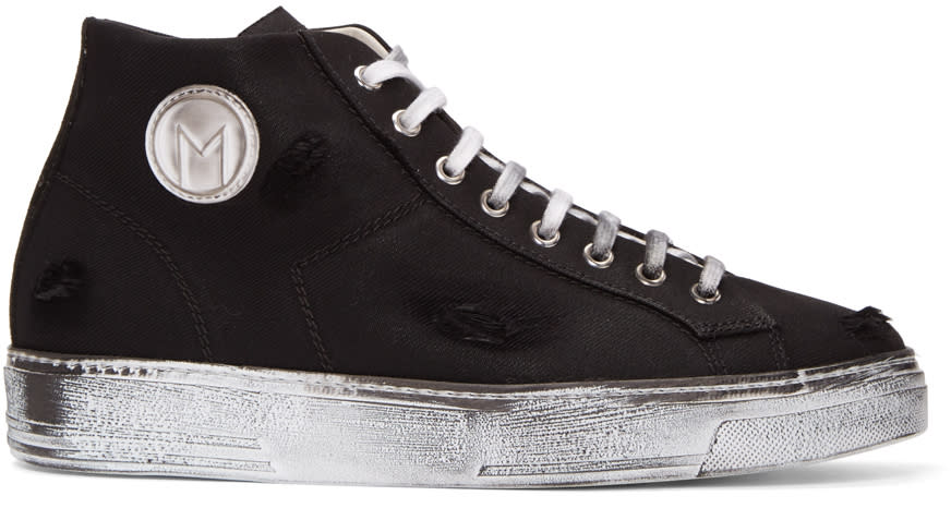 Msgm Black Worn Out Retro Mid-top Sneakers
