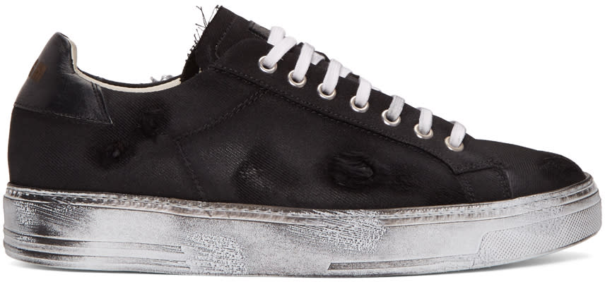 Msgm Black Worn Out Retro Sneakers