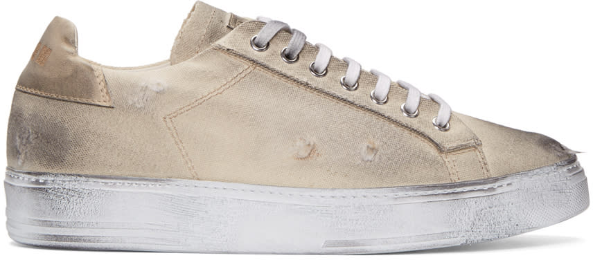 Msgm Beige Worn Out Retro Sneakers